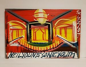 """VTG Original Steve Keene Signed Acrylic Painting """"Neil Young & Sonic Youth""""  Art"""