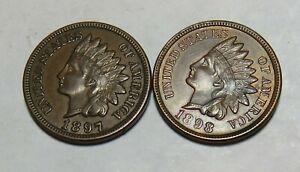 1897 1898 INDIAN HEAD CENTS WITH FULL LIBERTY