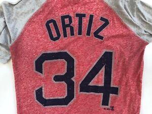 WOMENS MAJESTIC BOSTON RED SOX DAVID ORTIZ 34 TOP sz L SHIRT LARGE RED / GRAY