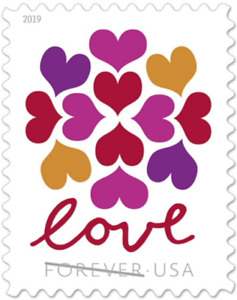 100 USPS Hearts Blossom Love Forever Stamps in 5 Sheets of 20