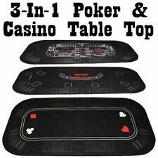 3 IN 1 Casino Holdem Poker Blackjack Craps Folding Table Top NEW
