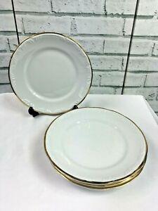 "4 Princess House Royale Gold White 9.75"" Dinner Plates Gold Trim Ingrid S Lara"