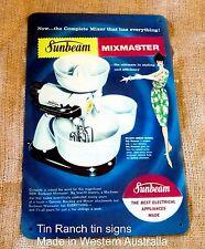 vintage SUNBEAM MIXMASTER tin SIGN 1960 retro advertising Kitchen art Baking 60s