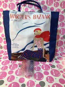 Estee Lauder Tote Bag Harper's Bazaar 1932 Blue LARGE TOTE W/ 2 PLASTIC BOTTLES