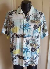 Men's Hawaiian Aloha Camp Shirt Newport Blue Motorcycles & Palms M Medium
