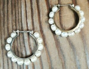 "Sterling Silver 925 Earrings Cream Pearl Hoop Pierced 1"" Marked JC"