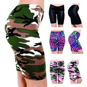 Women Ladies Printed Stretchy Gym Bike Cycling Tight Hot Pants Shorts Plus Size