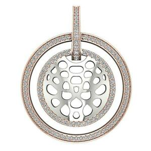 SI1 G 1.25Ct Natural Round Diamond Two Row Circle Pendant Necklace 14K Rose Gold
