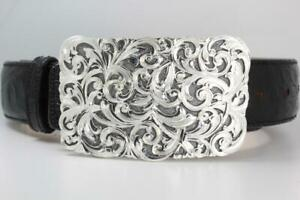 Handmade Sterling Silver (.925) Cowboy Trophy Belt Buckle (Made in Texas)