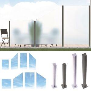 Design Glas Sichtschutz System - ESG Glaszaun Windschutz - Edelstahl Pfosten