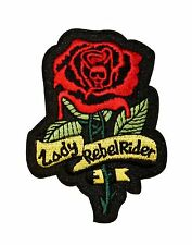 Lady Rebel Rider Red Rose Biker Embroidered Iron On Patch Applique