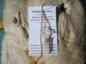 Merkaba Clear Quartz Pendulum+Rose Quartz Point-Divination-User Friendly