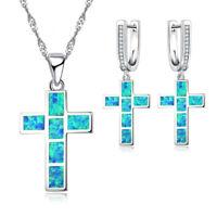 Fashion 925 Silver Blue Fire Opal Cross Pendant Necklace Earrings Jewelry Set