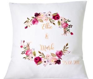 "Personalised Wedding rose frame - 16"" cushion cover Mr/Mrs wedding gift"