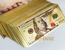 Wholesale 500 Pcs New $ 100 Dollar USD Color Gold Notes Money Banknotes Crafts