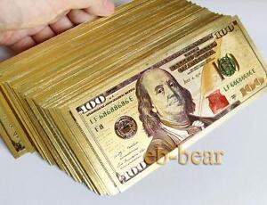 Wholesale Lot 100 Pcs New $ 100 Dollar Color Gold Notes Money Banknotes Crafts
