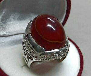 Natural Deep Brown Yemeni Sulemani Aqeeq Sterling Silver 925 Handmade Mens Ring