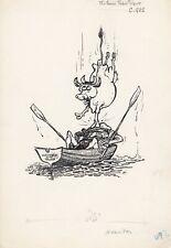 Original William Hewison Cartoon Drawing circa 1970 - Tower of London Cows Boats