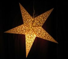 "24"" Gold Splendor Paper Star Hanging Lantern Lamp (Light Cord Is Included) #17"