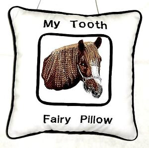Tooth Fairy Pillow with embroidered Brown Horsehead on White Cotton New Handmade