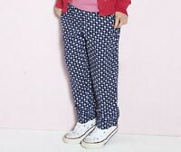 GIRLS LIGHTWEIGHT BLUE PATTERNED TRAVELLER CASUAL TROUSERS IN AGES 8-9 AND 10-11