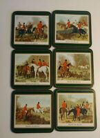Pimpernel Acrylic Traditional Coasters Horse Hunting Green Box Set of 6 Barware