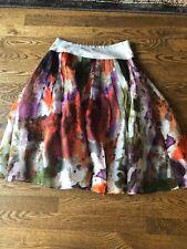 Anthropologie EDME ESYLLTE Silk Skirt 1952 Watercolor Full Pleated Sz 2 Women's