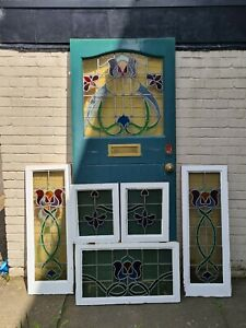 Old 1920s Stained-Glass Front Door, Top Light and Side Panels
