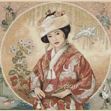 Cross stitch chart - Geisha oriental lady No 77a  FlowerPower37-UK FREE UK P&P