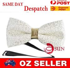 Men PVC Leather White Cream Golden Flowers Pattern Bow Tie Bowties Wedding Party