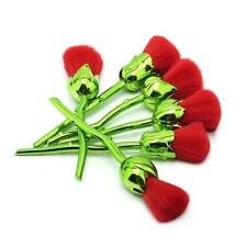 6pcs Unique Rose Flower Shape Green Red Makeup Brushes Set Charming Charm