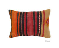 "Handmade Kilim PILLOW CUSHION COVER - Anatolian Lumbar Kilim Pillow 14"" x 20"""