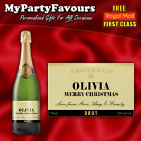 2 x Personalised Prosecco/Champagne Bottle Labels (Gold) - Christmas Gift!