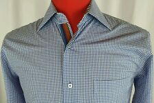 Visconti Uomo Shirt Small 2 Ply Mercerized Cotton Blue Checks