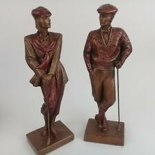 Austin Golf Sculpture Art Deco Lady & Gentleman Golfer Statue signed By A. Danel