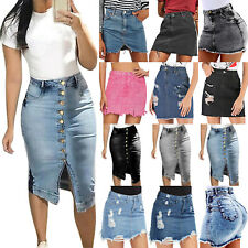 UK Women's High Waist Denim Skirt Summer Casual Ripped Jeans Mini Dress Casual
