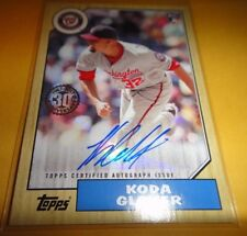 KODA GLOVER, RC, AUTOGRAPHED 2017 TOPPS UPDATE #87A-KGL==WASHINGTON NATIONALS