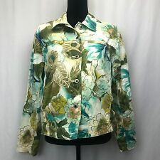 Caribbean Joe Floral Stretch Cotton Blend Womens Denim Style Jacket Size Large