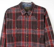 Mens XL WRANGLER Shirt l/s Pearl Snap Brown Cowboy Plaid Western Rockabilly