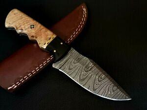 CUSTOM HAND MADE DAMASCUS STEEL BLADE HUNTING KNIFE CF-4652