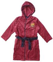Boys Dressing Gown Barcelona FCB Hoody Football Fleece Bath Robe 3 to 6 Years