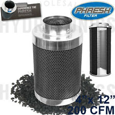 "Phresh Filter 4"" x 12"" 200 CFM 4 in 12 in Carbon Odor Can Filter Inline 4in 12in"