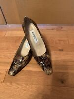Rangoni Firenze Women's Shoes Snake 100% Leather Square Toe Sz 6,5 B Italy Cute