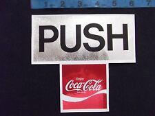 "Coca Cola Coke Door ""Push"" Sticker Decal Vintage 6"" X 5 1/2"" Foil Type NOS"