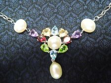 Sterling Silver 925 RS CHINA Pearl & Multi Gemstone Medallion Necklace