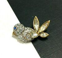 Vintage Swarovski Swan Blue Bird Brooch Crystal Rhinestone 18K Gold PL UU48U