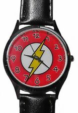 THE FLASH Logo Genuine Leather Band Wrist Watch