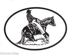 Equine Discipline Oval Vinyl Car Decal Black & White Sticker - Reining Horse