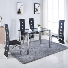 5 Piece Black Glass Dining Table Set 4 Chairs Kitchen Room Breakfast Furniture