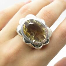 Signed Vtg 925 Sterling Silver Large Citrine Gemstone Men's Signet Ring Size 6.5
